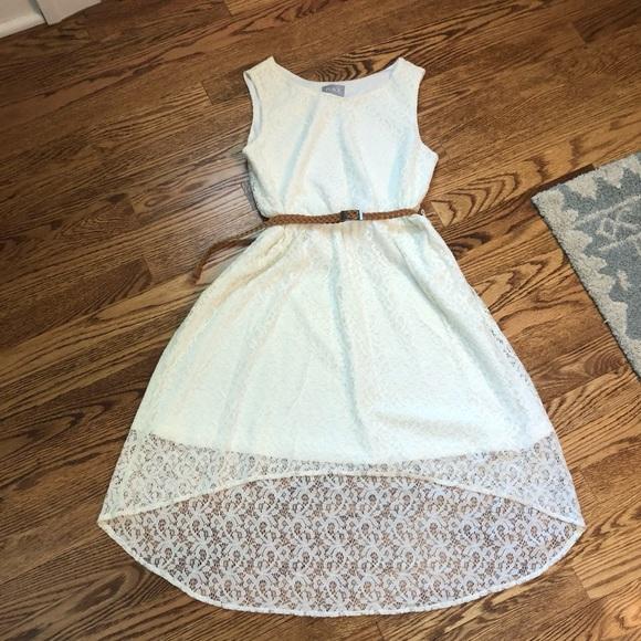 Girls off white dress hi low skirt w belt